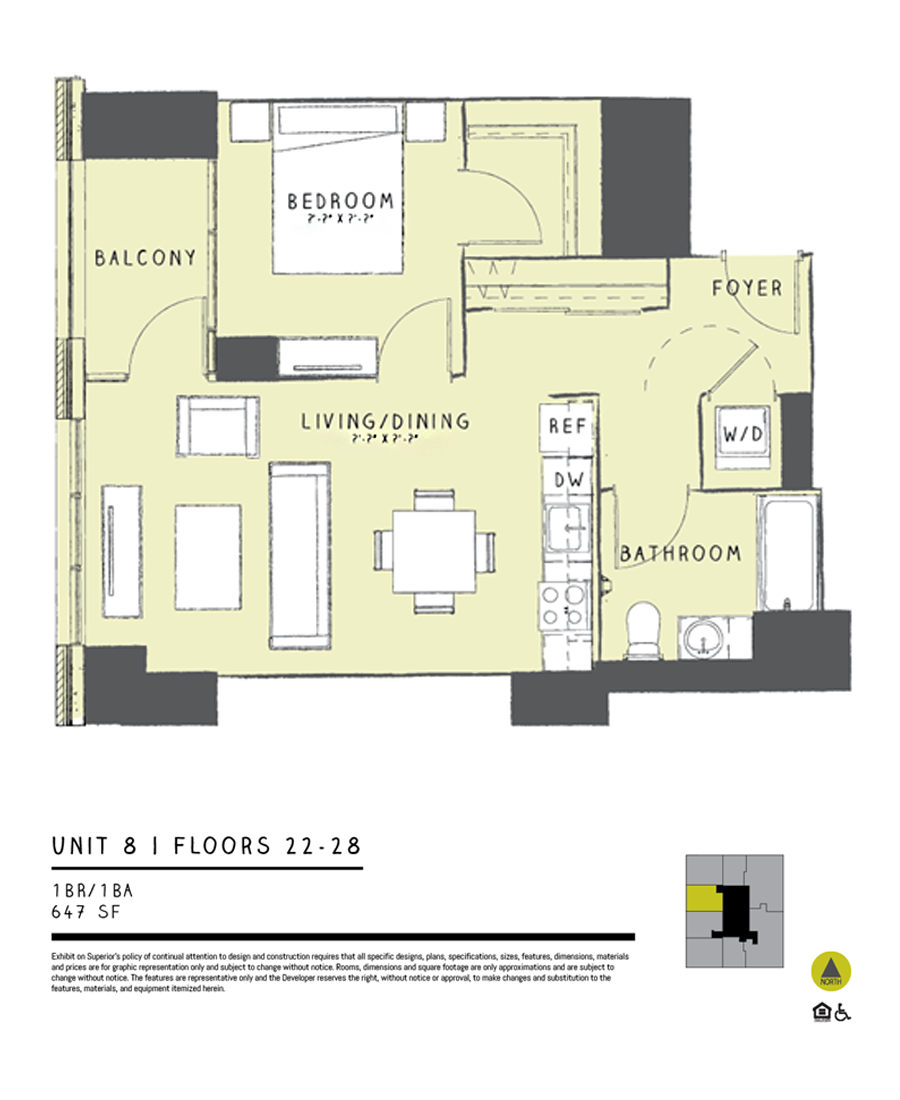 One Bedroom 08B Floor Plan 5