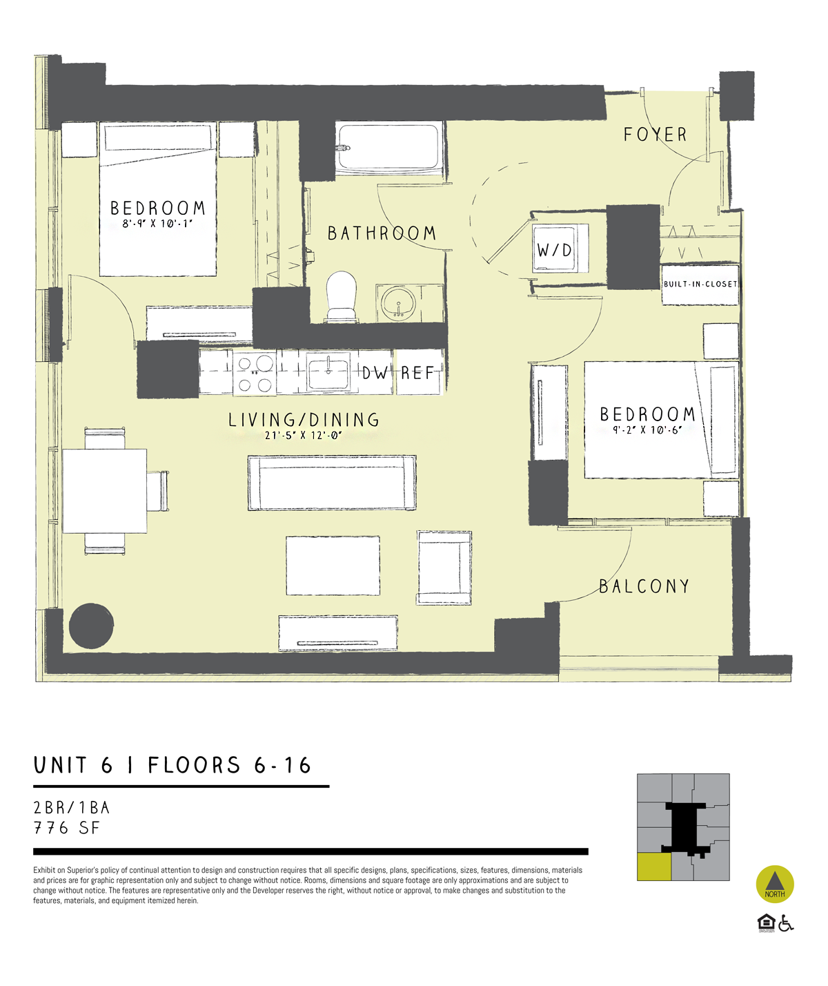 One Bedroom + Den 06A Floor Plan 9
