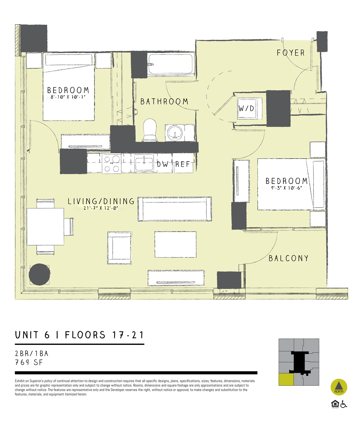 One Bedroom + Den 06B Floor Plan 8