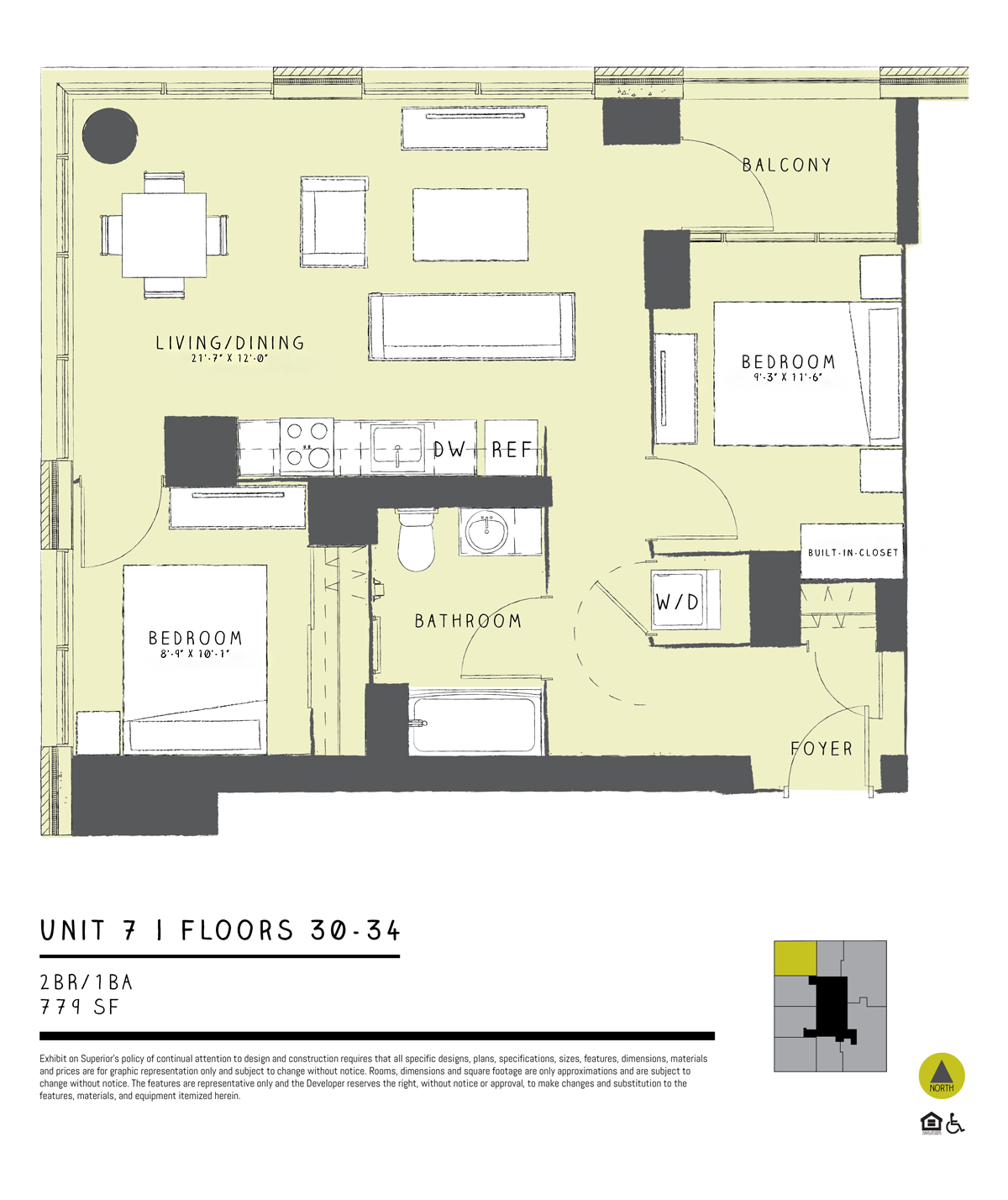 One Bedroom + Den 07 Floor Plan 10