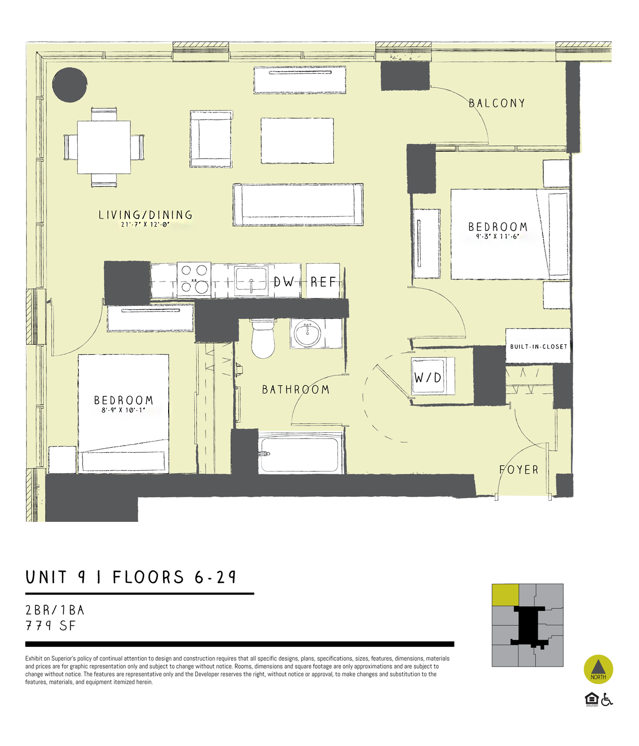 One Bedroom + Den 09A Floor Plan 11