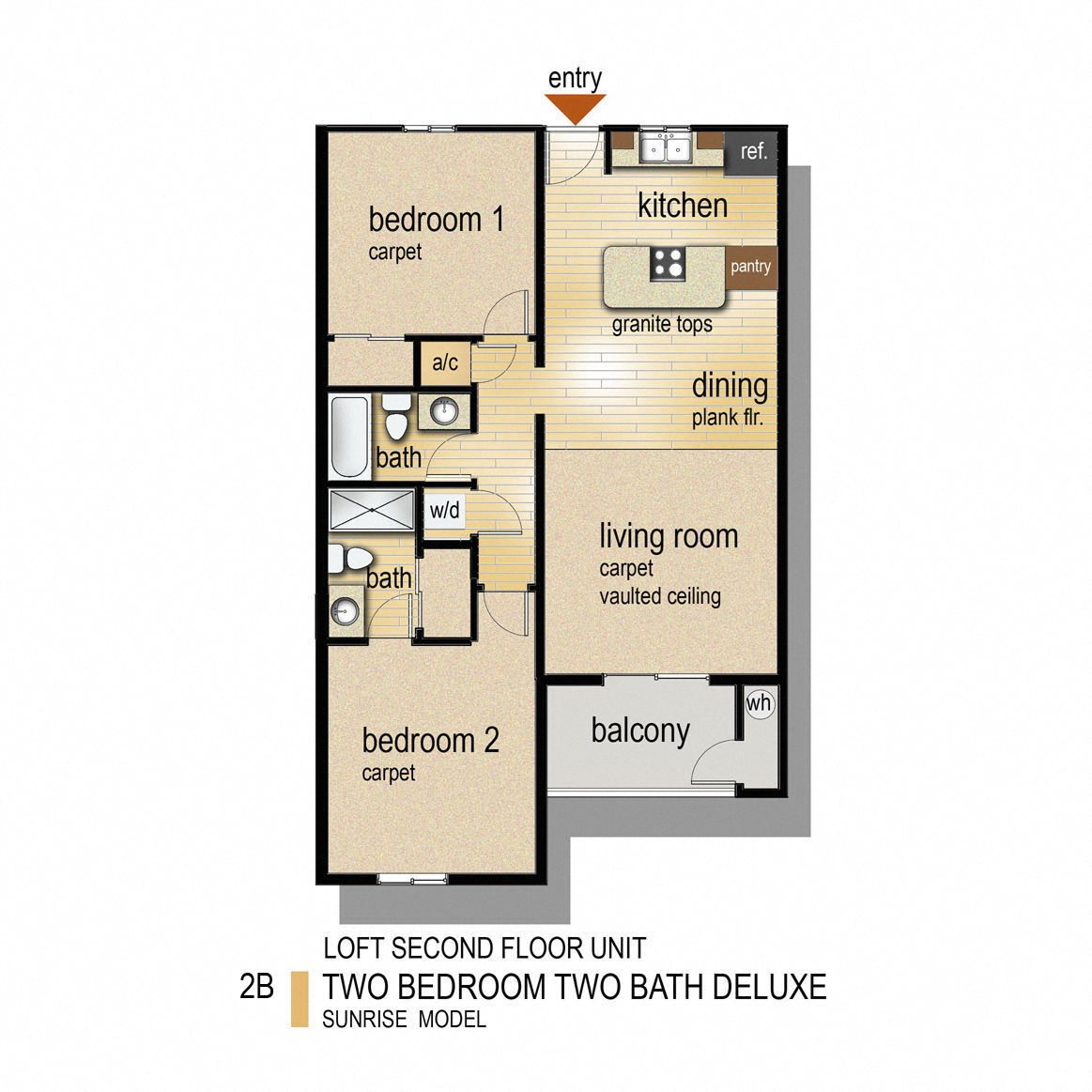 2 Bed 2 Bath Deluxe Floor Plan 3