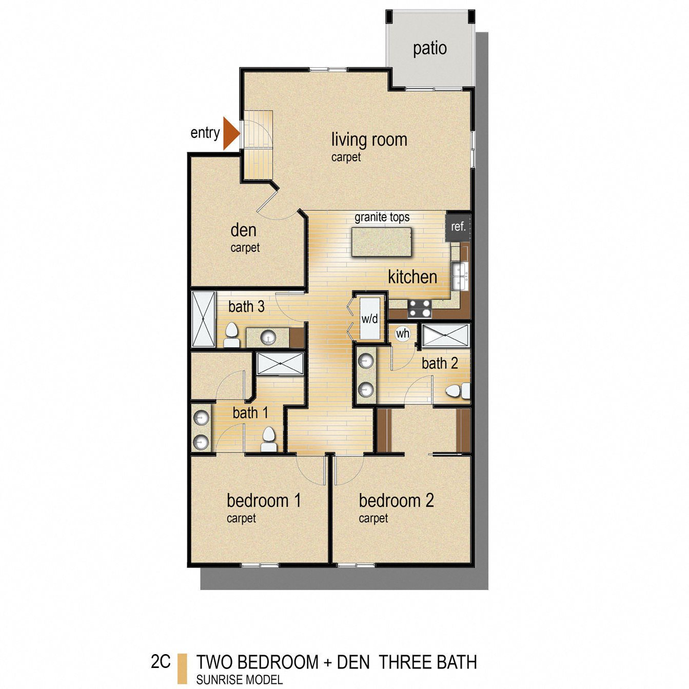3 Bed 3 Bath Den Floor Plan 4