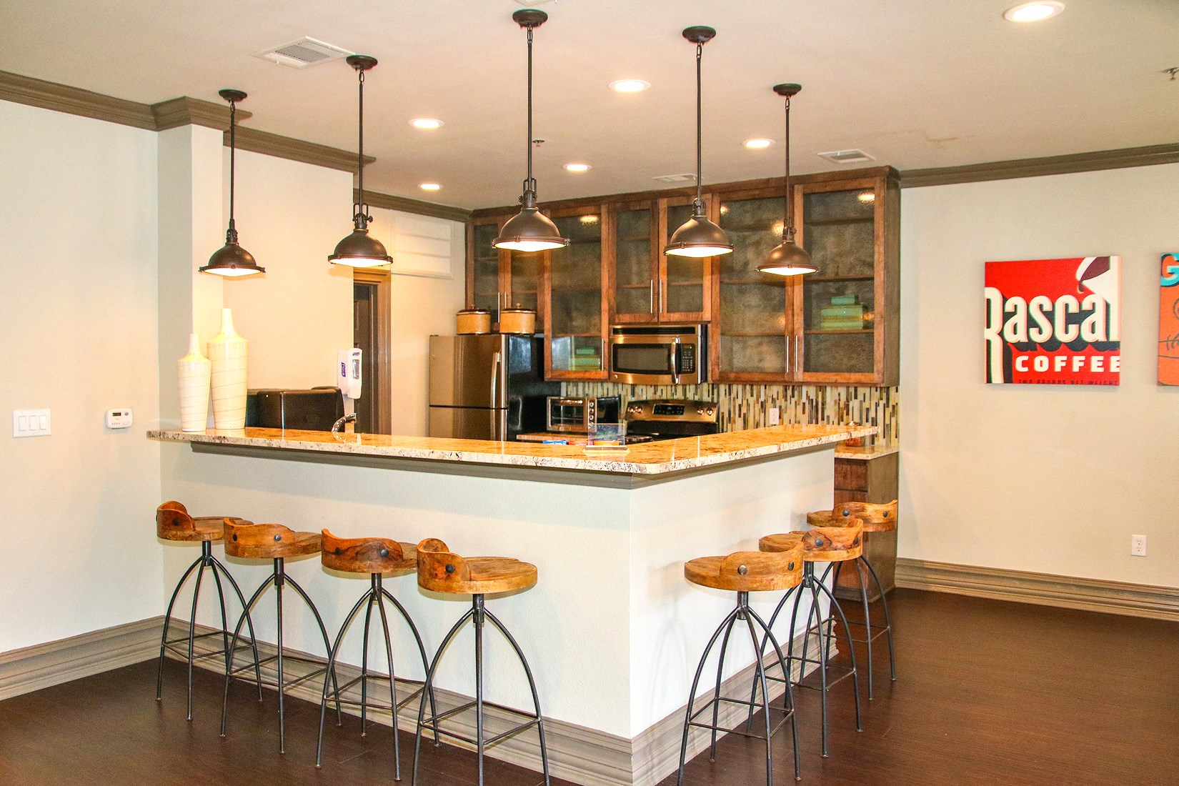 Clubhouse Kitchen at 7900 at Park Central Apartments in Dallas, TX