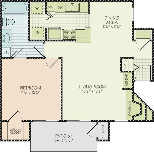 Floor Plan A at Hudson Orchard Park Apartments, 49 Orchard Park Drive, Greenville