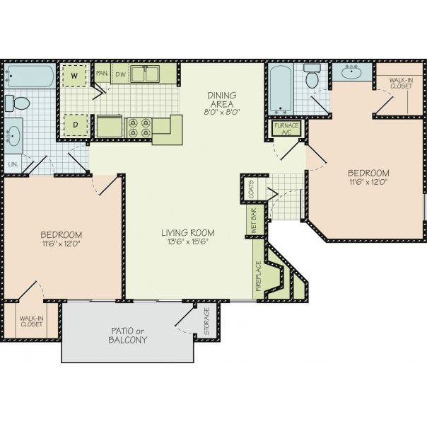 Floor Plan B at Orchard Park Apartments in Greensville, South Carolina