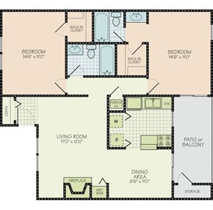 Floor Plan C at Hudson Orchard Park Apartments, Greenville, SC