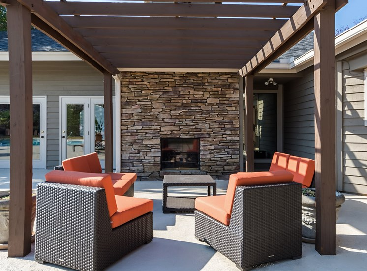 Outdoor FIreplace at Hudson Orchard Park Apartments in Greenville, SC 29615