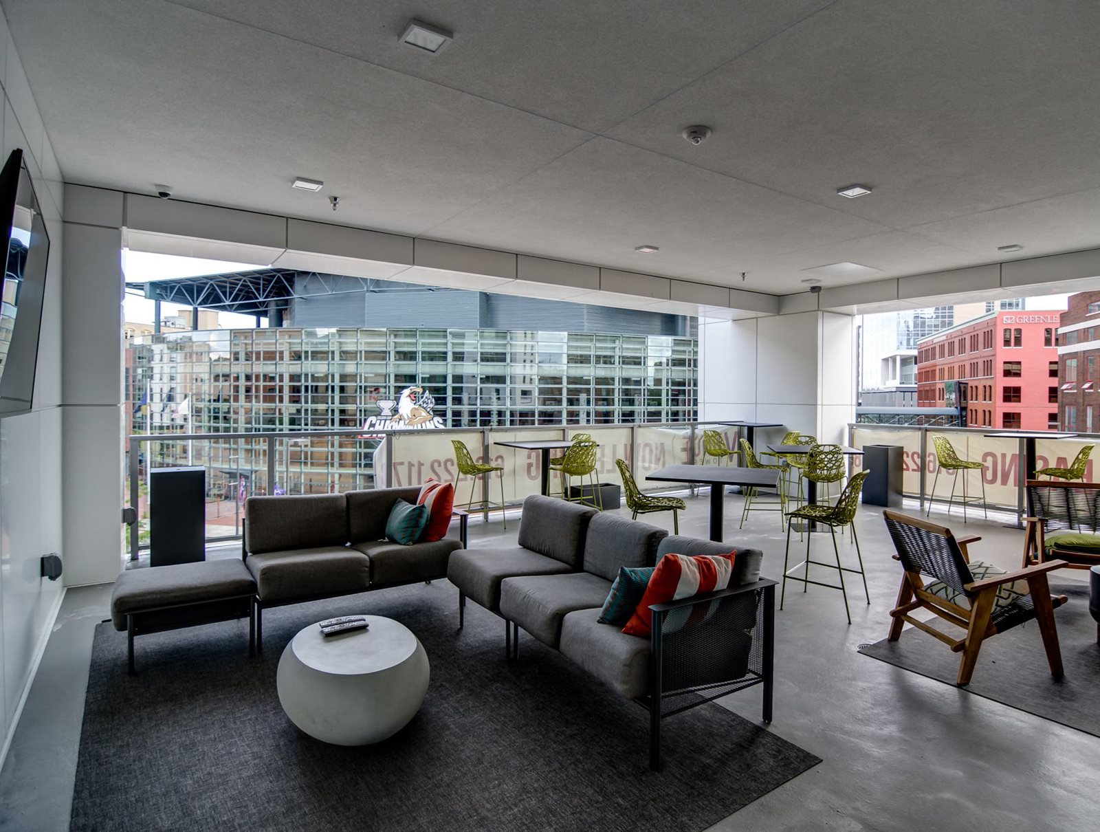 Resident Clubhouse With Floor To Ceiling Windows Overlooking Downtown Grand Rapids