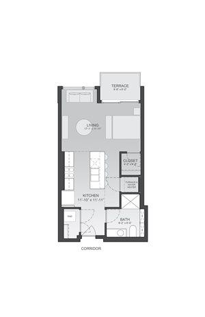 583sf- Studio w/Balcony