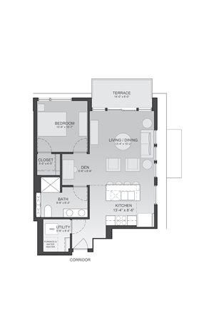 736sf- 1 Bedroom w/Balcony
