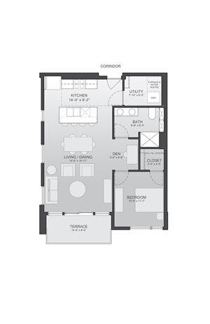 825sf- 1 Bedroom w/Balcony