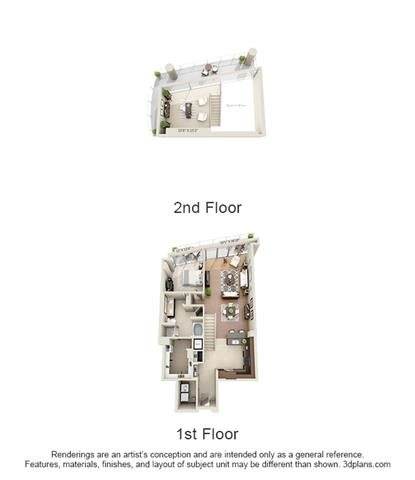 Penthouse 1 Bed Study 1 Bath Floor Plan 14