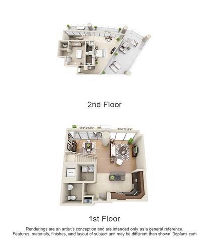 Penthouse 1 Bed 1.5 Bath Floor Plan 16