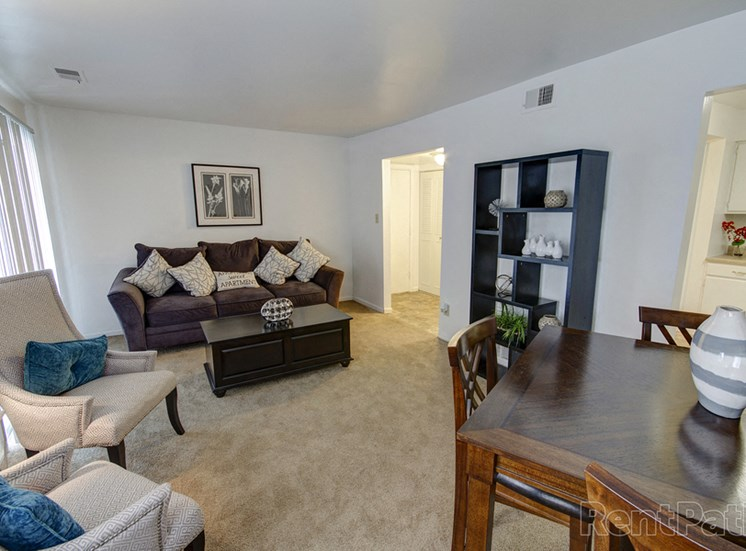 Classic Living Room Design at Lake Camelot Apartments, Indianapolis, IN