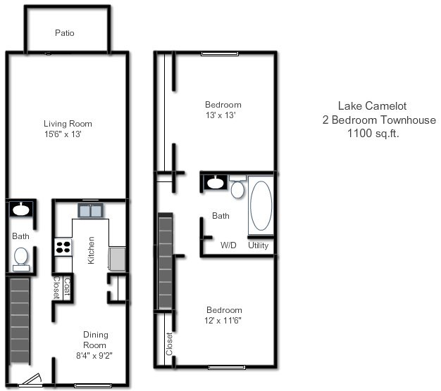 3 Bedroom Townhomes For Rent: Floor Plans Of Lake Camelot Apartments In Indianapolis, IN