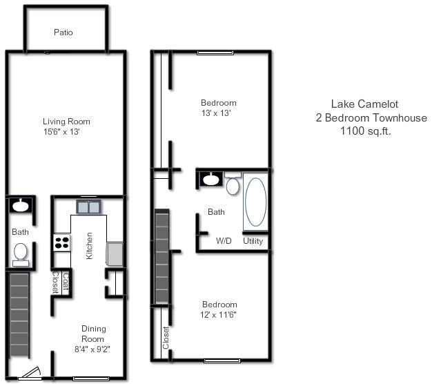 2 Bedroom Townhome Floor Plan 3