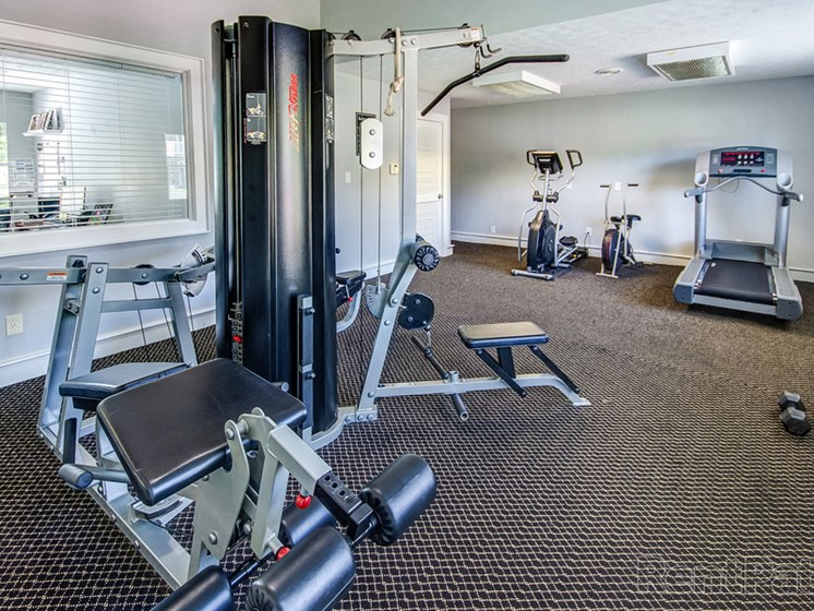 Fitness Center With Modern Equipment at Sandstone Court Apartments, Greenwood, IN