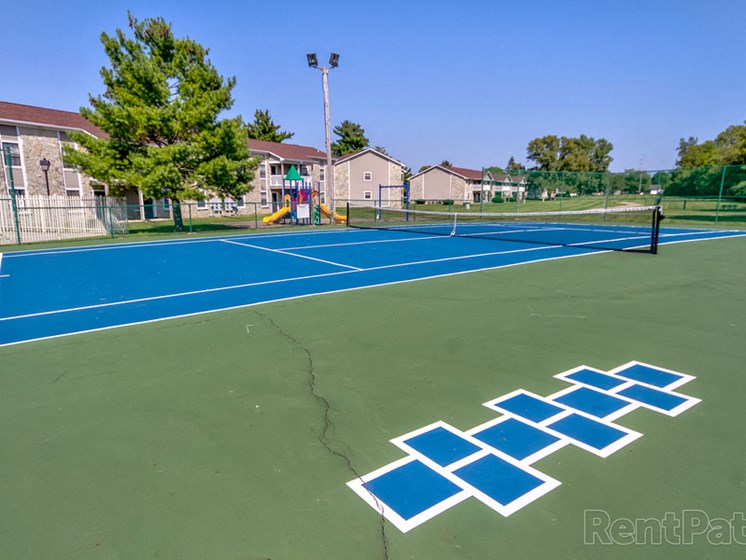 Smooth And Well Kept Tennis Court at Sandstone Court Apartments, Greenwood, 46142