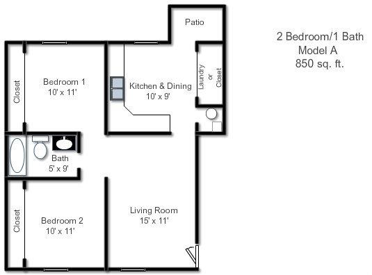 Floor Plans of Sandstone Court Apartments in Greenwood, IN
