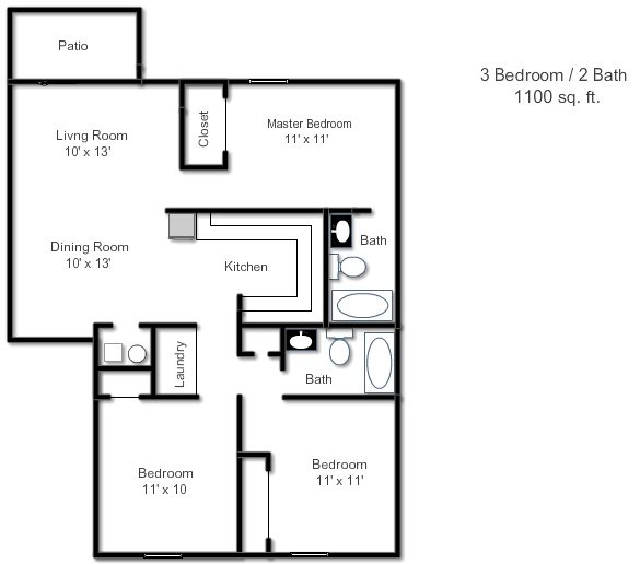 Floor Plans of Sandstone Court Apartments in Greenwood, IN