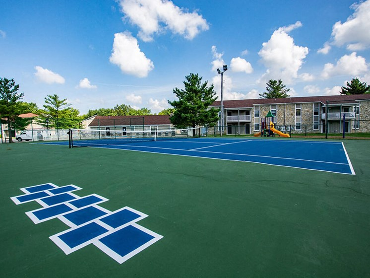 Smooth and Well Kept Tennis Court at Sandstone Court Apartments, Greenwood, IN, 46142