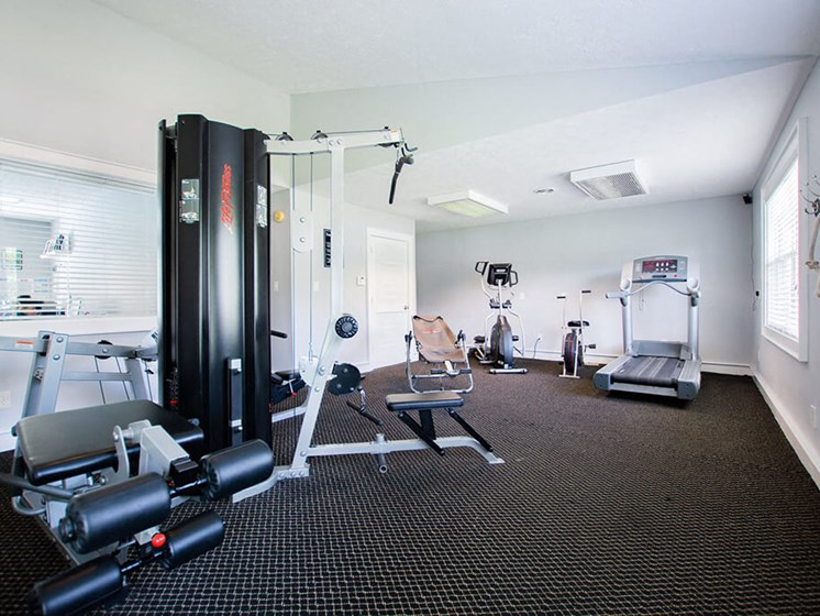 Free Weights in Gym at Sandstone Court Apartments, Indiana, 46142