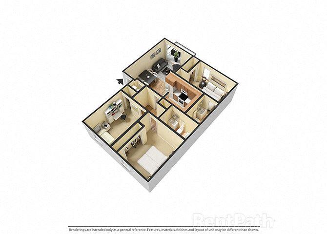 3 Bedroom 2 Bathroom 3D Floor Plan at Sandstone Court Apartments, Greenwood, Indiana