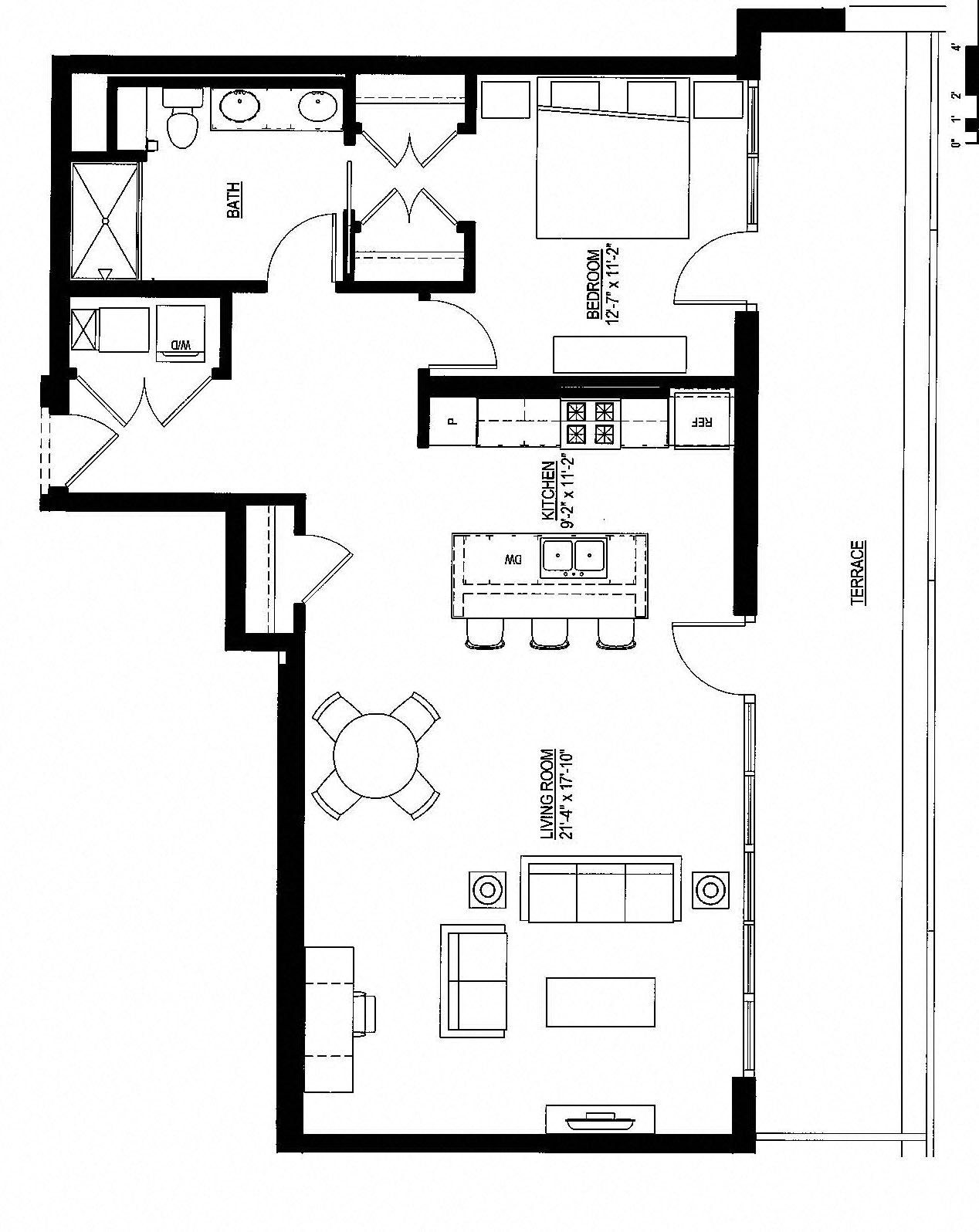 1049sf- Penthouse w/Balcony Floor Plan 1