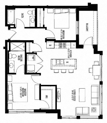 1051sf- 2 Bedroom w/Balcony Floor Plan 2