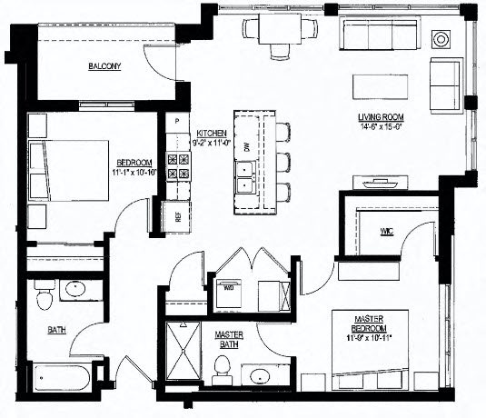 1051sf- Penthouse w/Balcony Floor Plan 3
