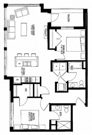 1076sf- 2 Bedroom w/Balcony