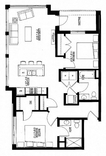 1076sf- Penthouse w/Balcony Floor Plan 5