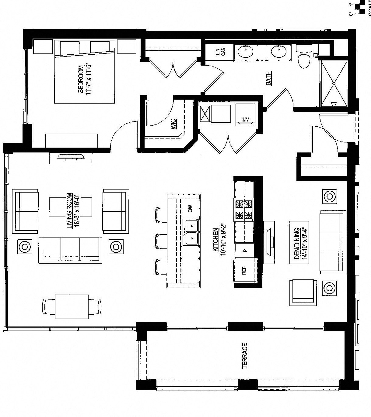 1098sf- Penthouse w/Balcony Floor Plan 6
