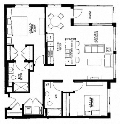 1228sf- 2 Bedroom w/Balcony Floor Plan 7