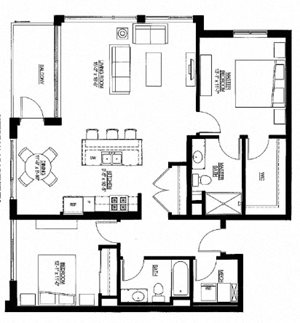 1253sf- 2 Bedroom w/Balcony