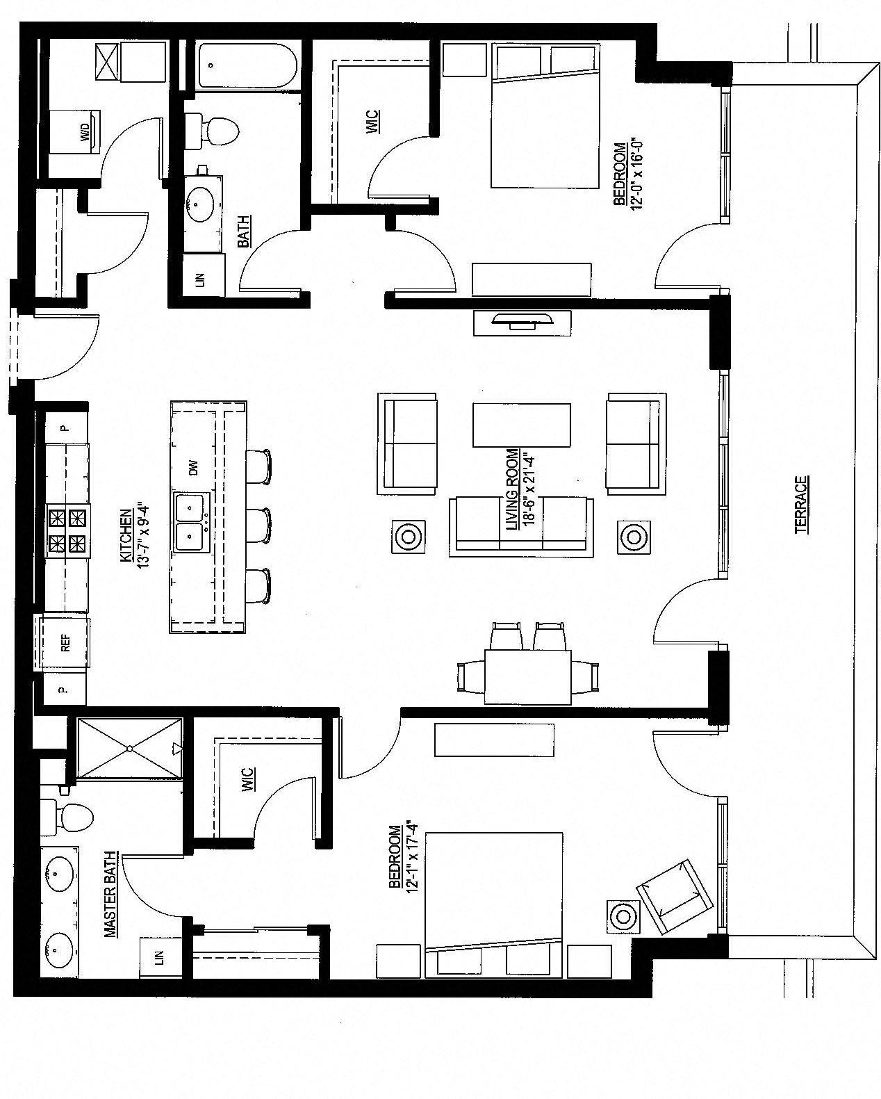 1412sf- Penthouse w/Balcony Floor Plan 10