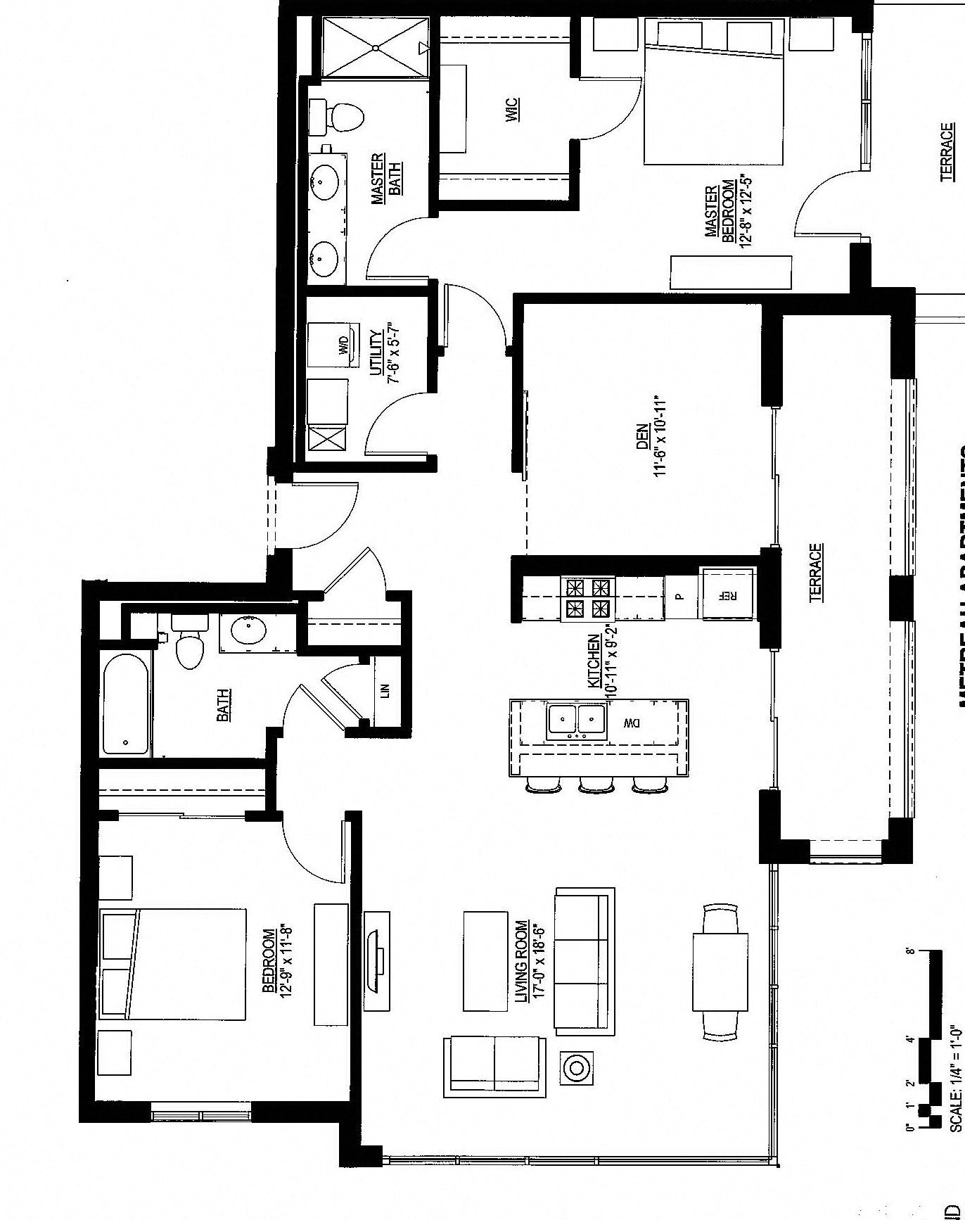 1433sf- Penthouse w/ 2 Balconies Floor Plan 11
