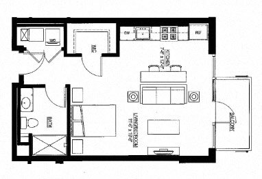 566sf- Studio w/Balcony Floor Plan 12