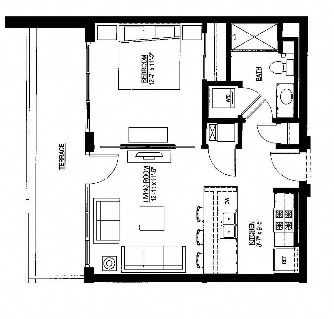 603sf- Penthouse w/Balcony Floor Plan 13