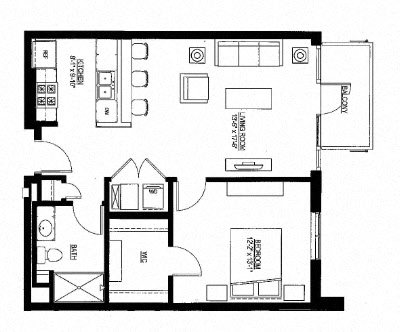759sf- 1 Bedroom w/Balcony Floor Plan 14