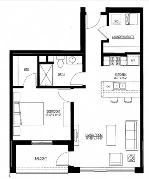 770sf- 1 Bedroom w/Balcony