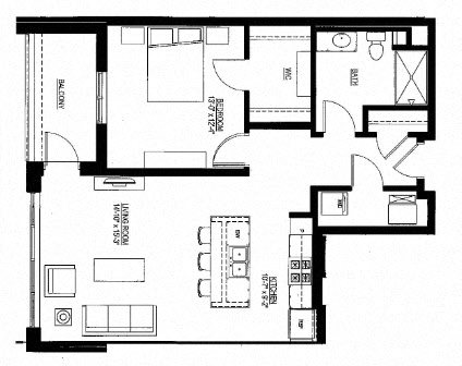 850sf- 1 Bedroom w/Balcony Floor Plan 16