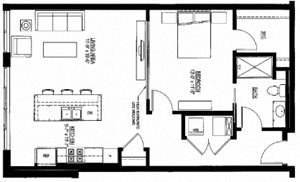 853sf- 1 Bedroom