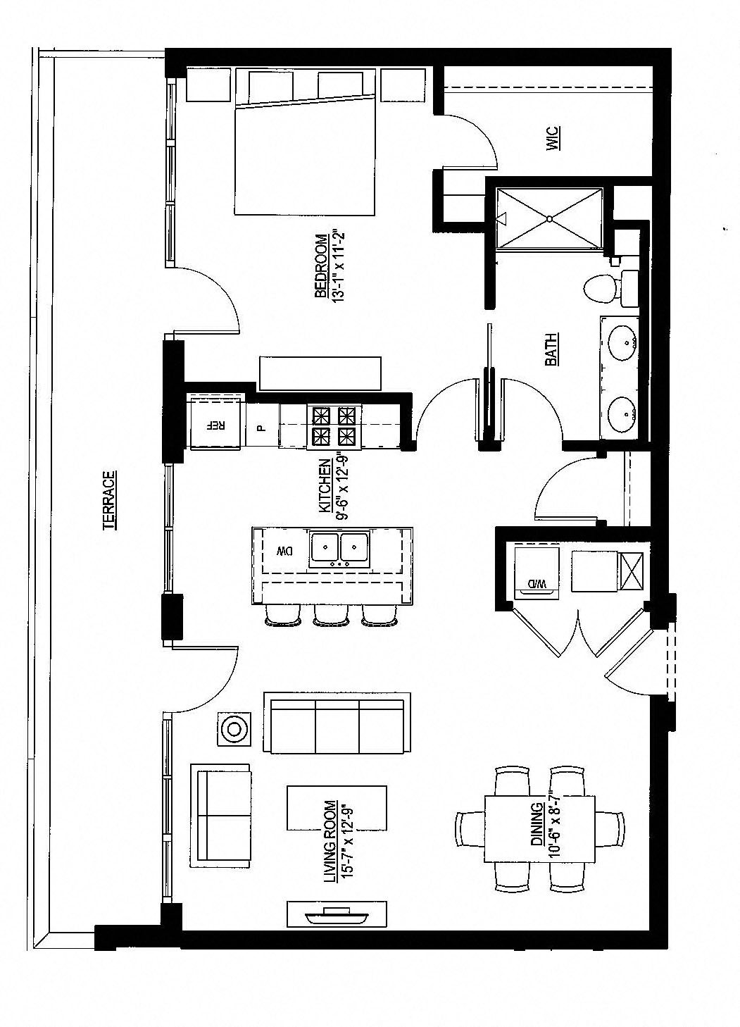 901sf- Penthouse w/Balcony Floor Plan 18