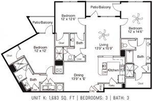 3 Bed 3 Bath K