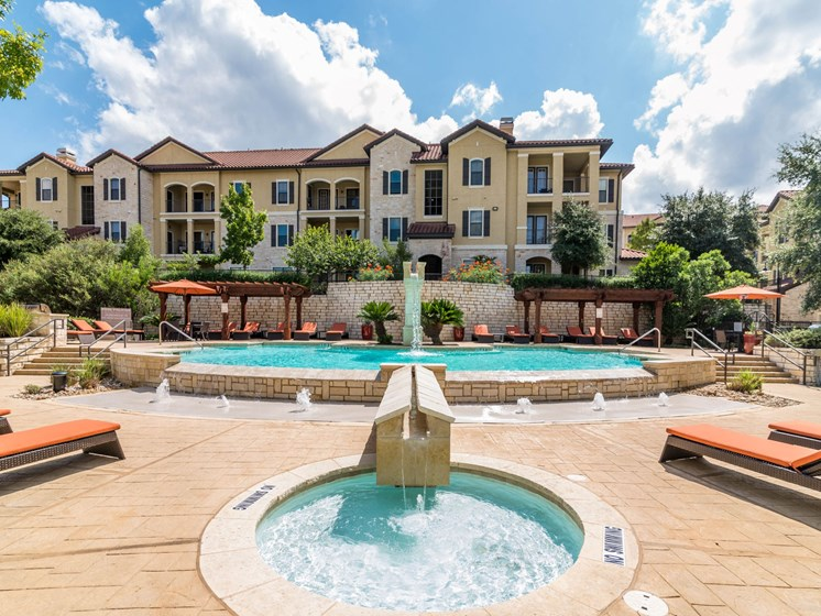 Lively Swimming Pool at 3500 Westlake Apartments in Austin, TX