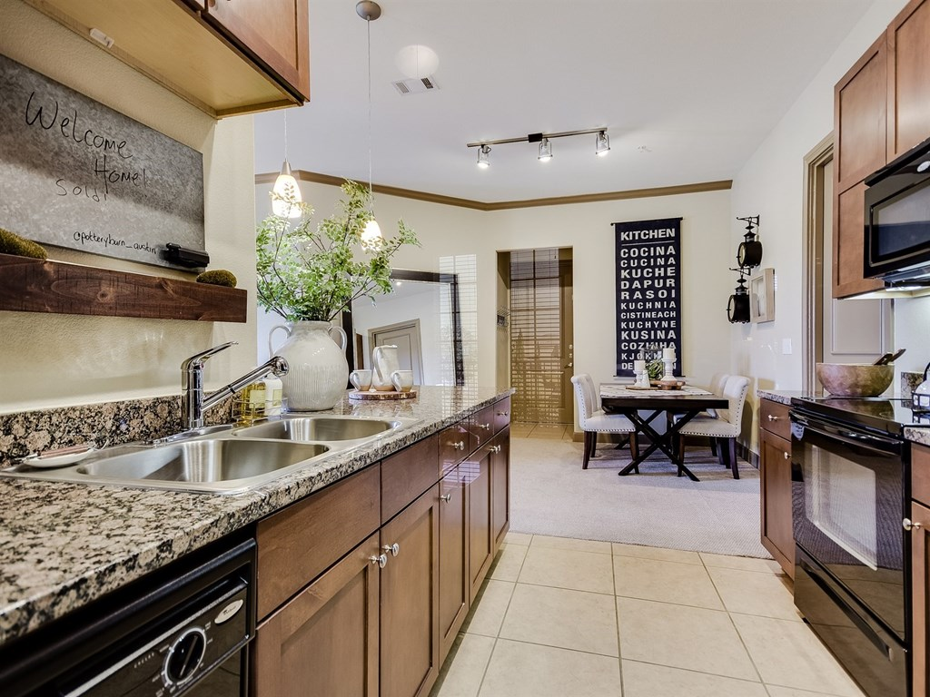 Fully-Equipped Kitchen at 3500 Westlake Apartments in Austin, TX