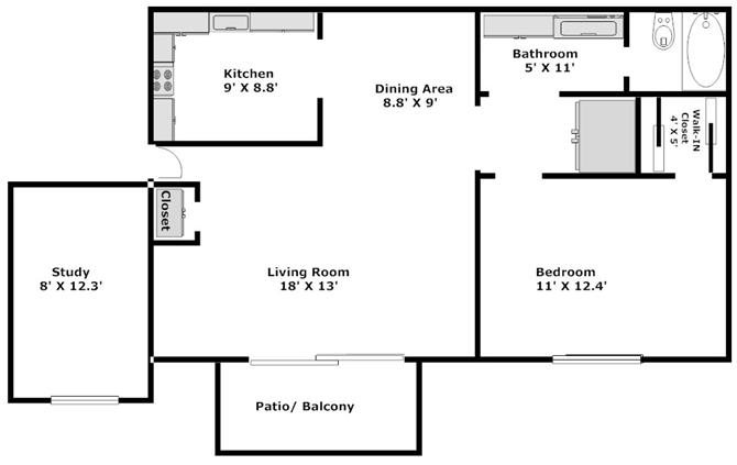 one bedroom with den. One bedroom  Bath Plus Den Floor Plan 4 Plans of Waterstone Place Apartments in Indianapolis IN