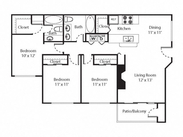 3 x 2 Floorplan at Riverwalk at Happy Valley, Happy Valley, OR, 97086